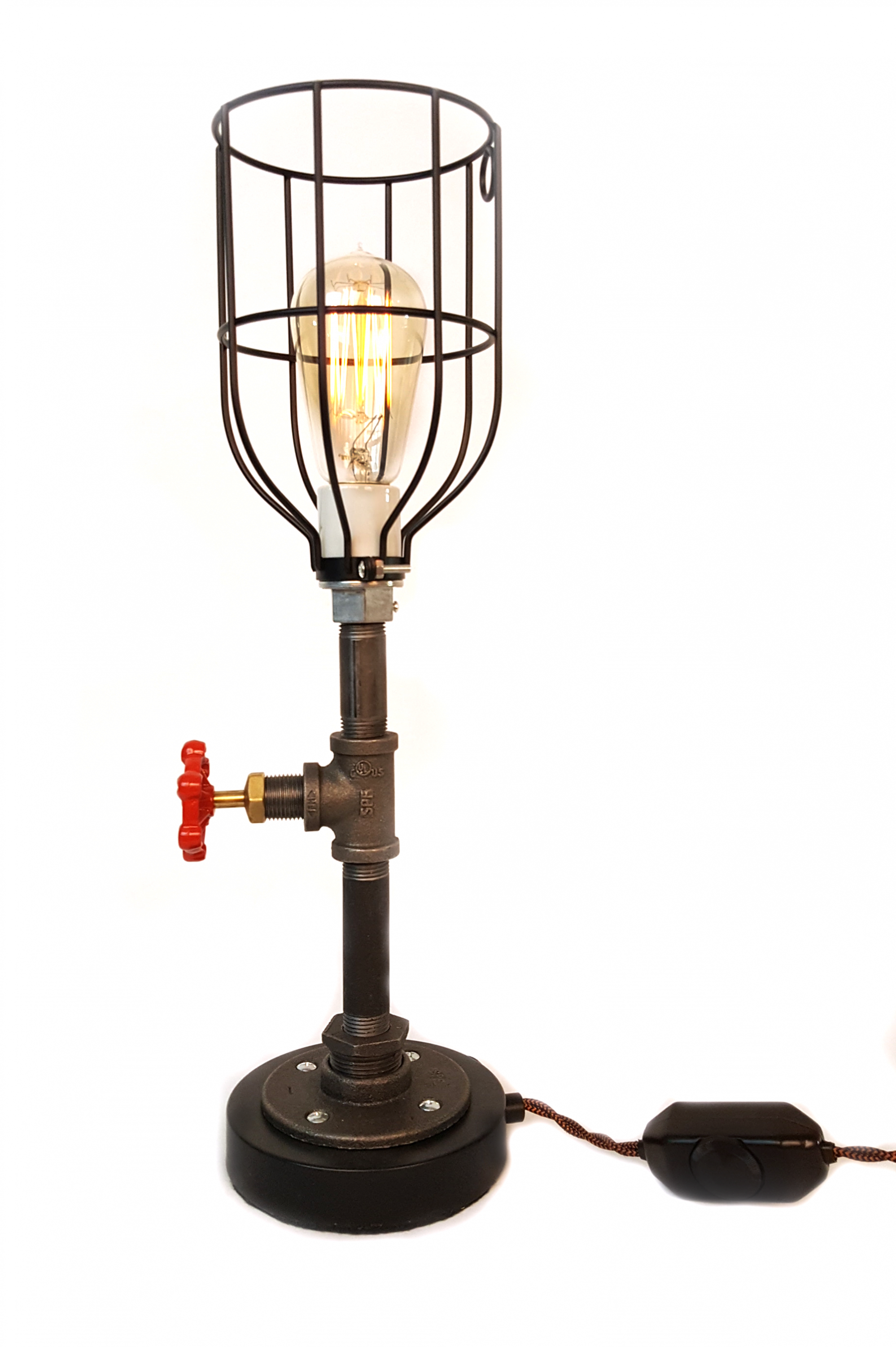 Pipe Table Lamp With Round Black Base And Cage